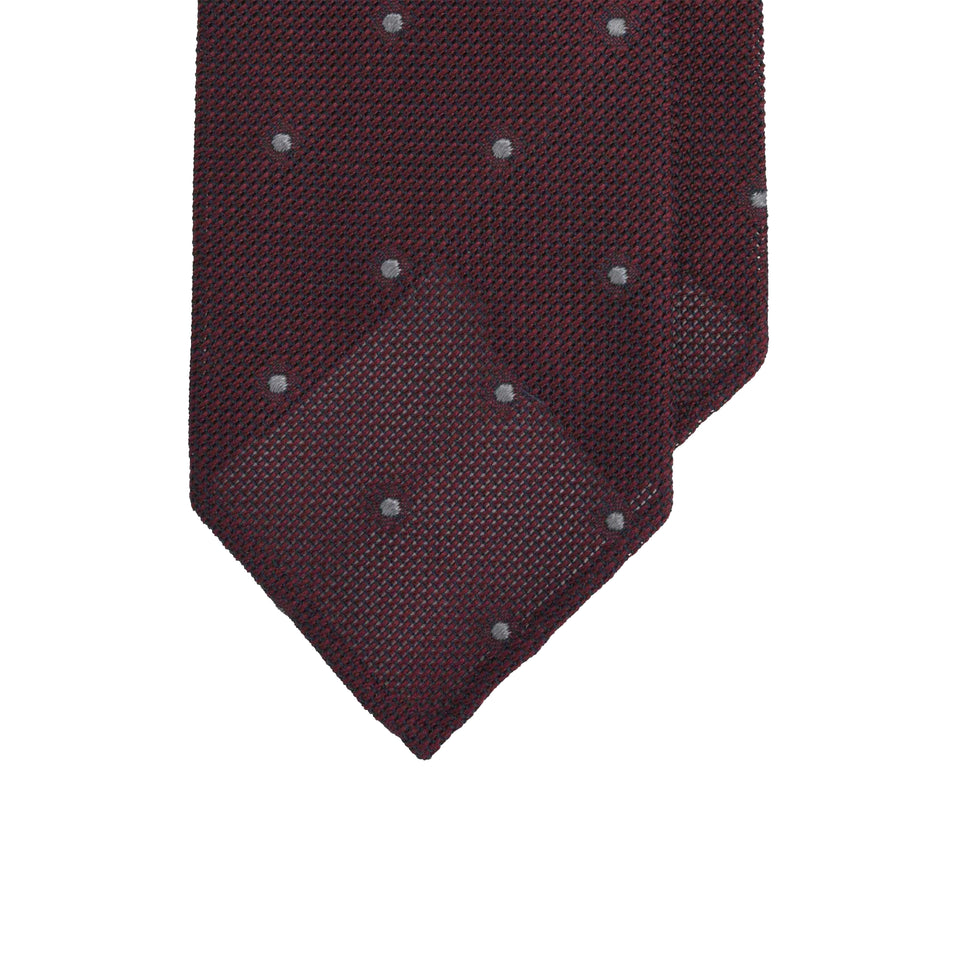 Amidé Hadelin | Jacquard grenadine polka dot tie, purple/grey