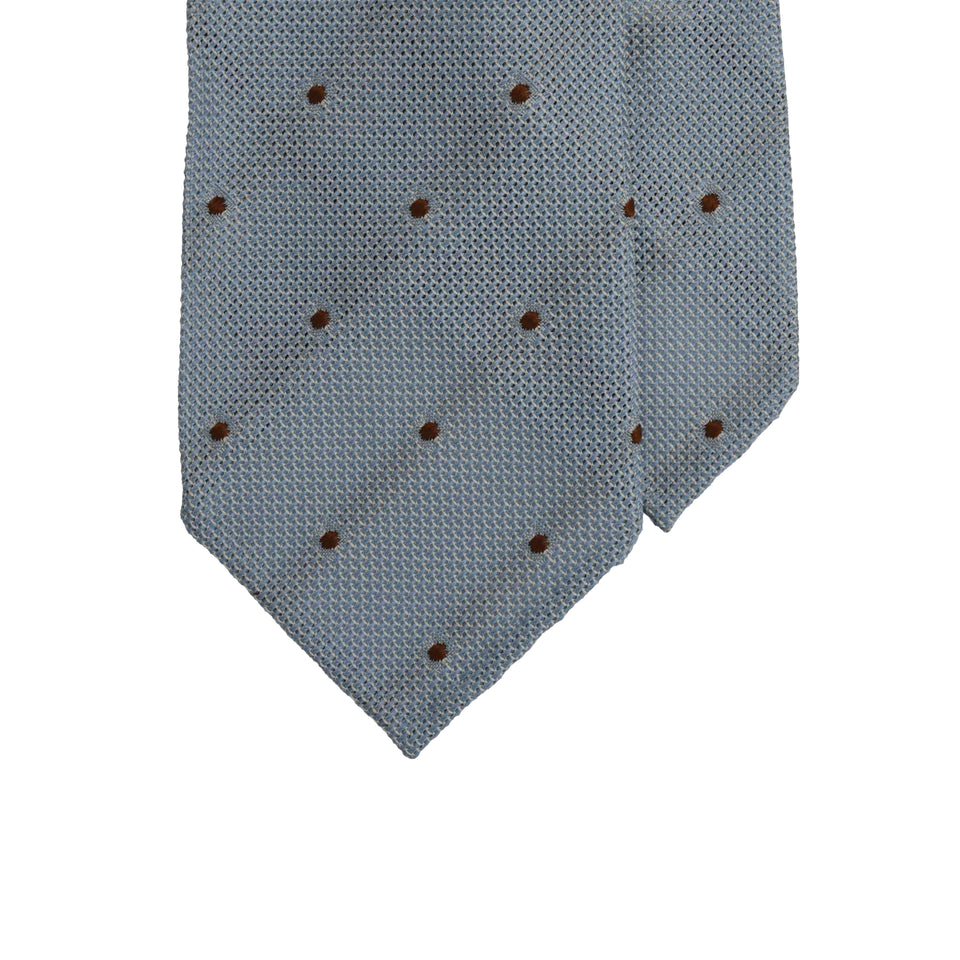 Amidé Hadelin | Jacquard grenadine polka dot tie, sky blue/brown