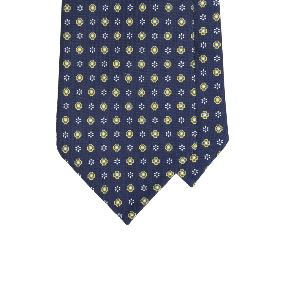 Handprinted silk tie micro floral - navy/yellow