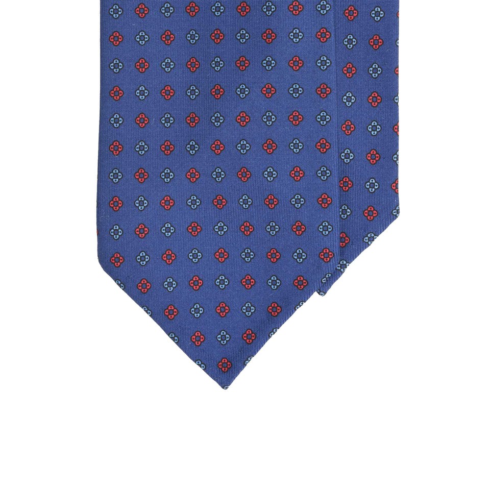 Amidé Hadelin handprinted micro floral tie, blue - LIMITED EDITION