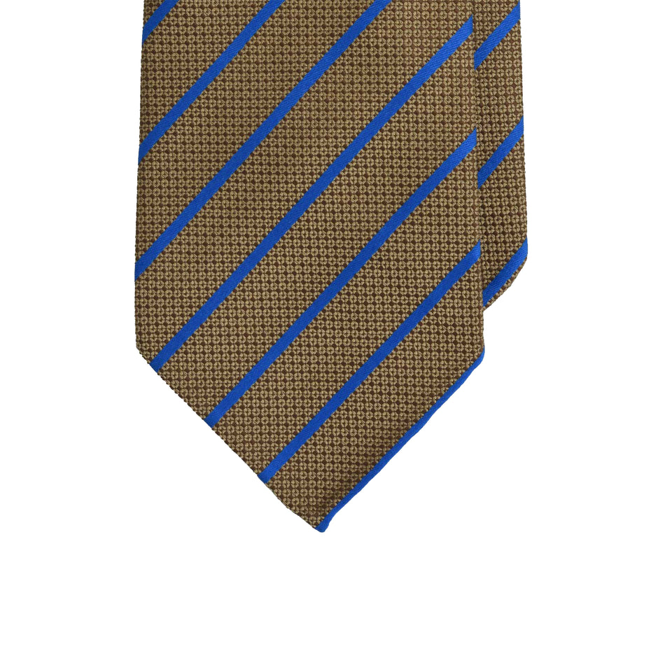 Amidé Hadelin | Jacquard silk tie stripe - golden brown/blue