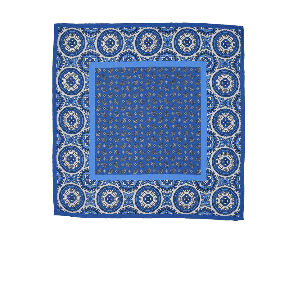 Amidé Hadelin | Pocket square, multi-patterned, blue/light blue