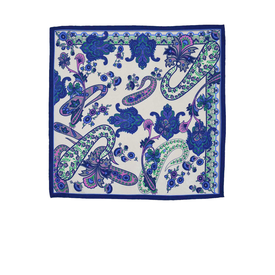 Amidé Hadelin | Pocket square, vintage flowers, white/blue/pink/green