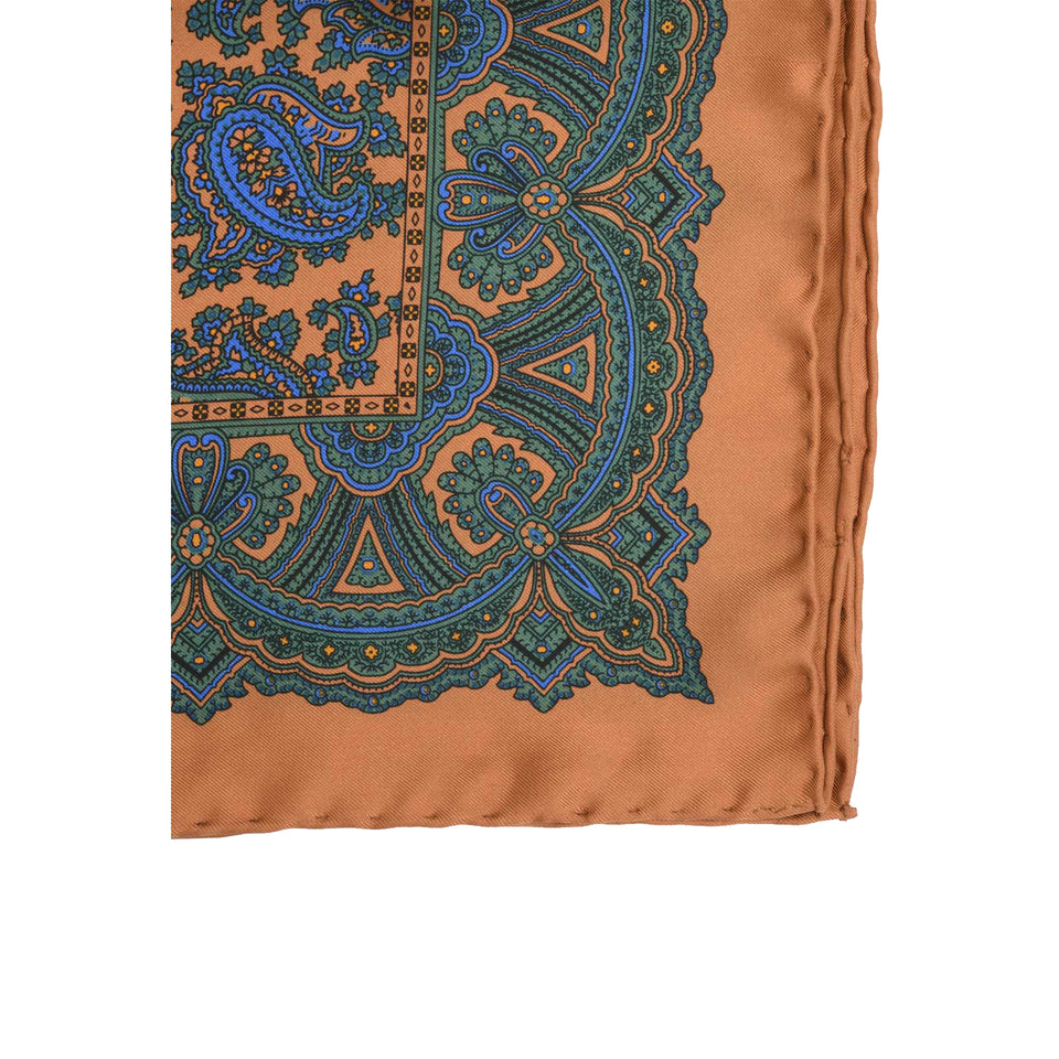 Amidé Hadelin | Handprinted silk pocket square, paisley, burnt orange