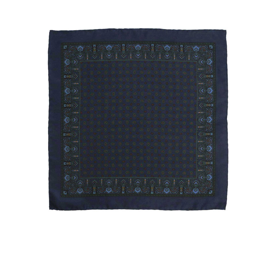 Amidé Hadelin | Handprinted silk pocket square, paisley, navy