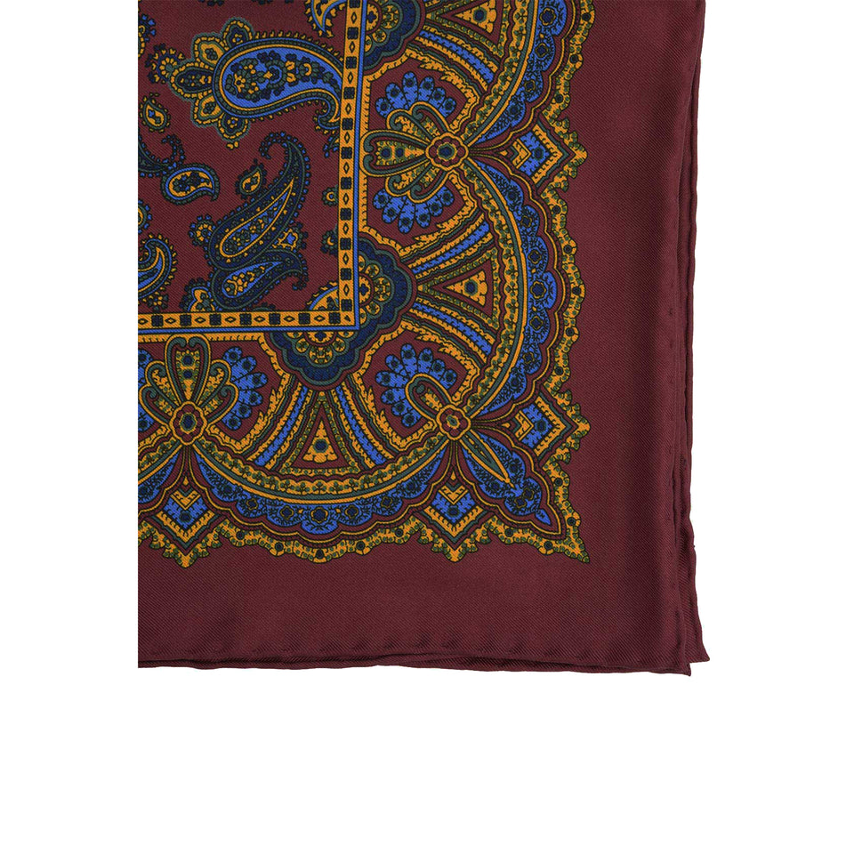 Amidé Hadelin | Handprinted silk pocket square, paisley, burgundy