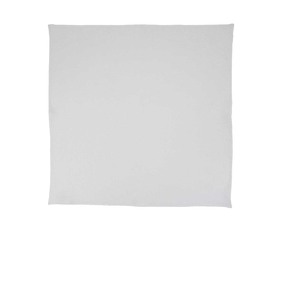 Linen pocket square, white, hand rolled 42x42cm