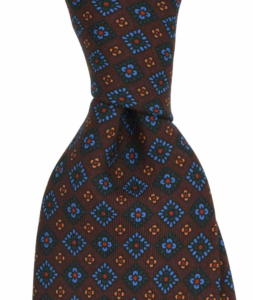 Amidé Hadelin tie | Handprinted ancient madder brown