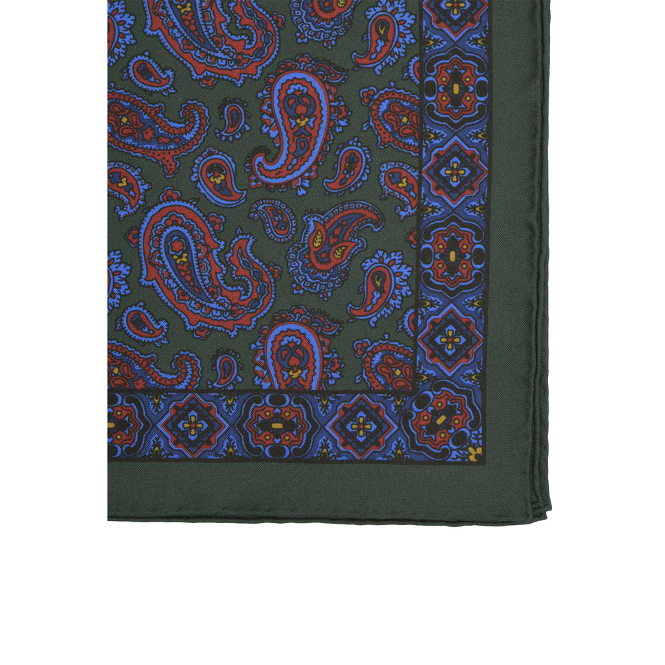 Amidé Hadelin | Handprinted silk pocket square, paisley, dark green