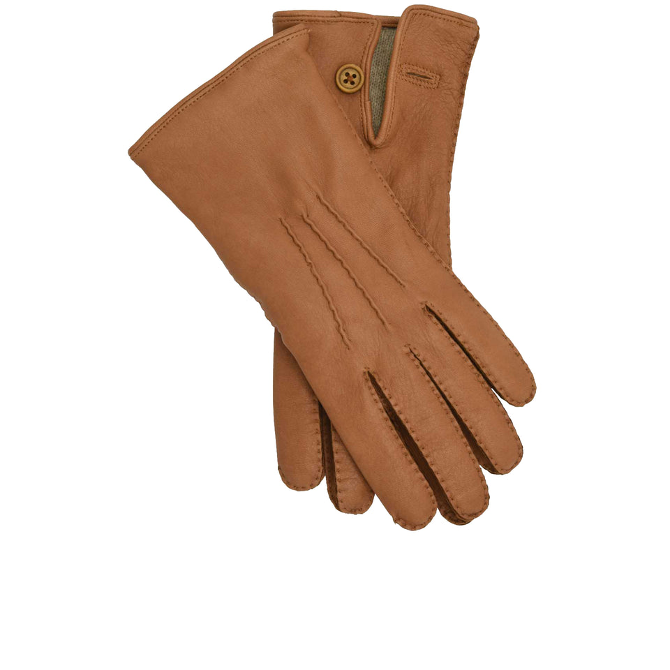 Amidé Hadelin | Mens cashmere lined deerskin gloves, tan