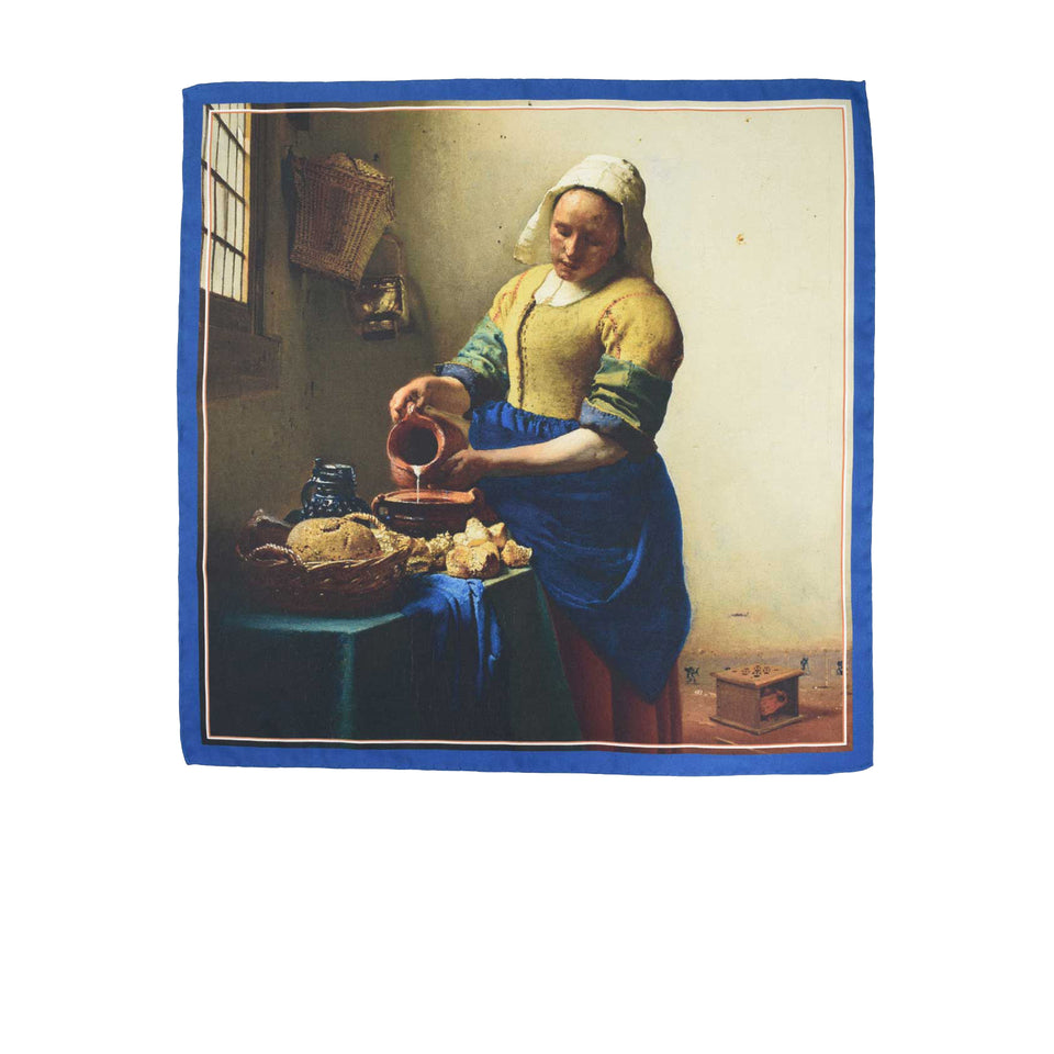 Amidé Hadelin | Johannes Vermeer pocket square 'The Milkmaid'