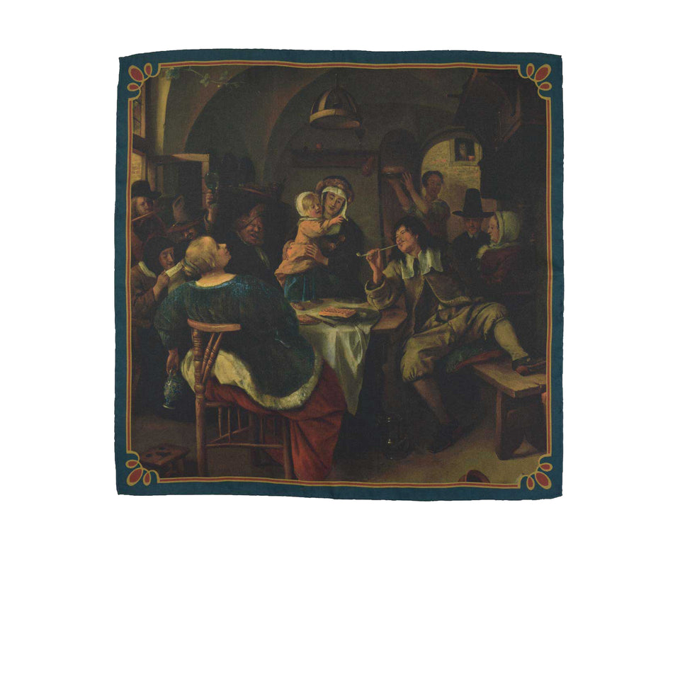 Amidé Hadelin | Jan Steen pocket square 'Family scene'