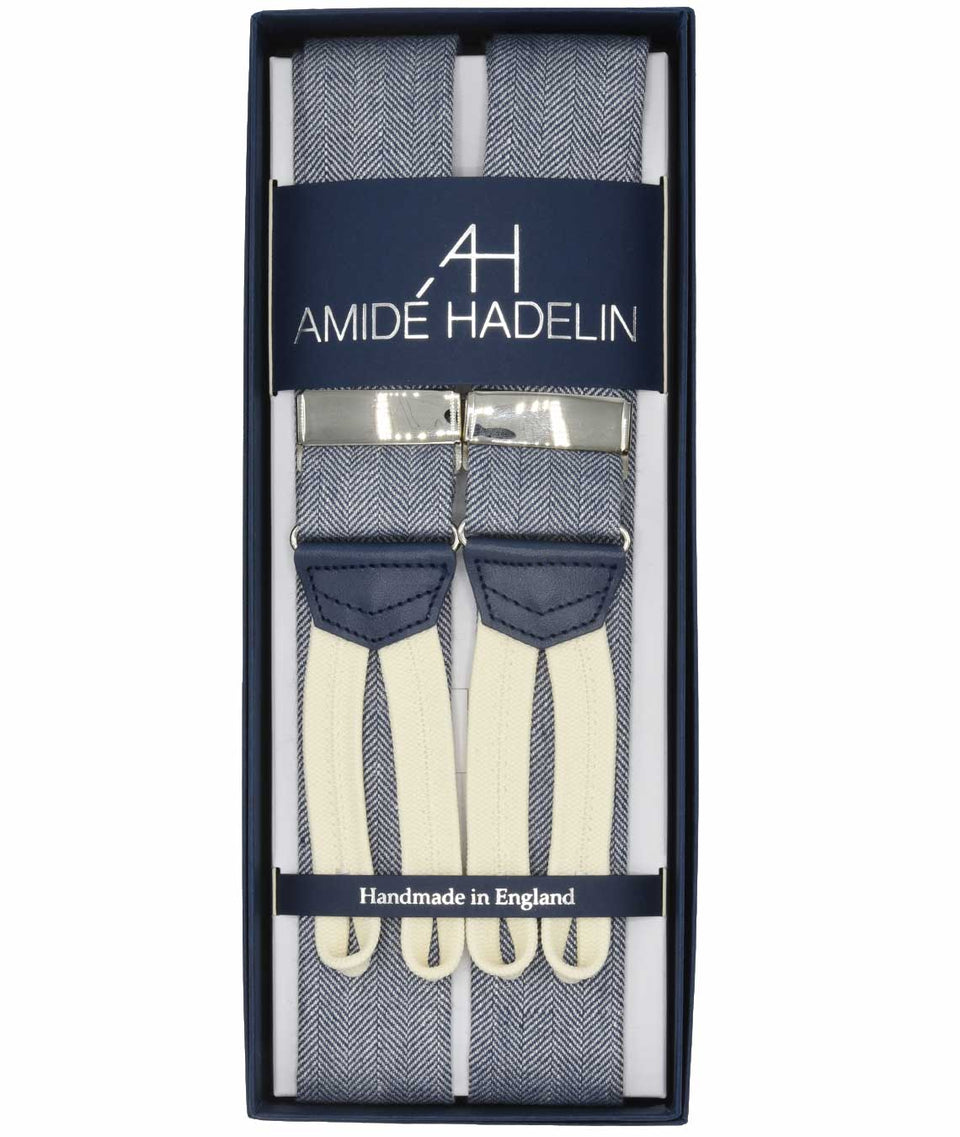 Amidé Hadelin | Abraham Moon wool/linen braces, blue/white