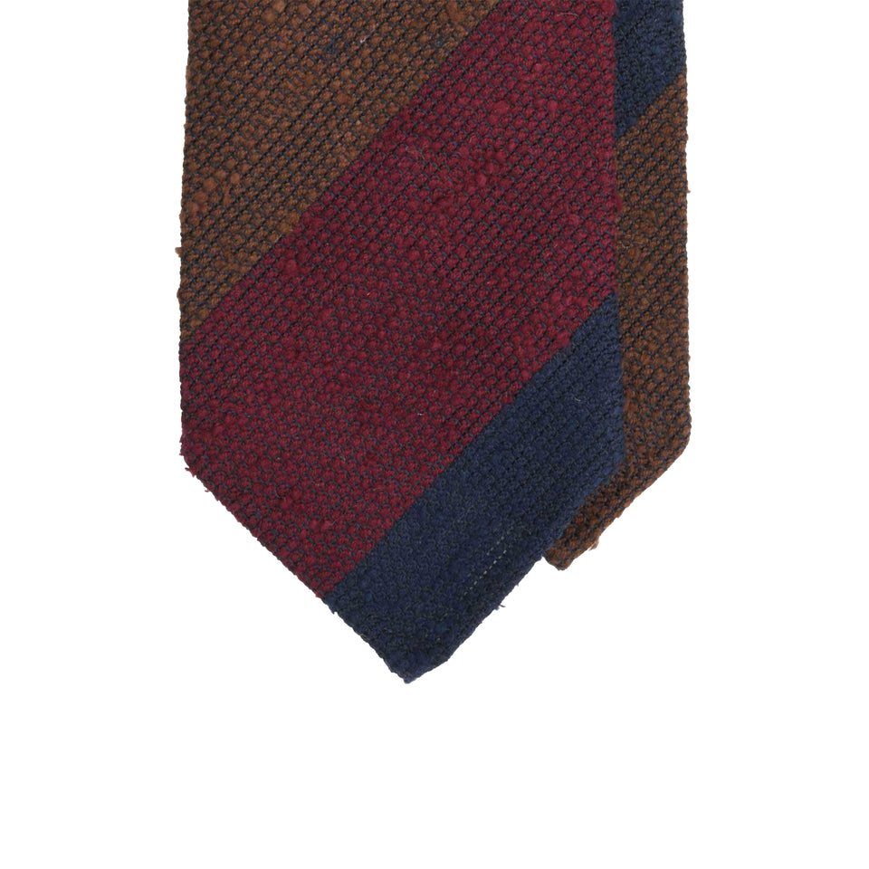 Amidé Hadelin | Block stripe shantung grenadine 3-fold, burgundy/navy/brown