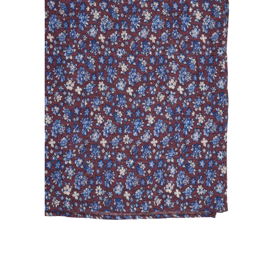 Amidé Hadelin | Double sided silk/cotton pocket square, floral/stripes, burgundy