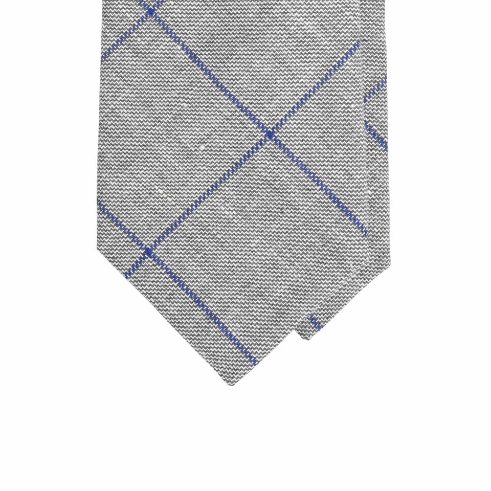 Amidé Hadelin | Abraham Moon wool/linen windowpane tie - grey/blue