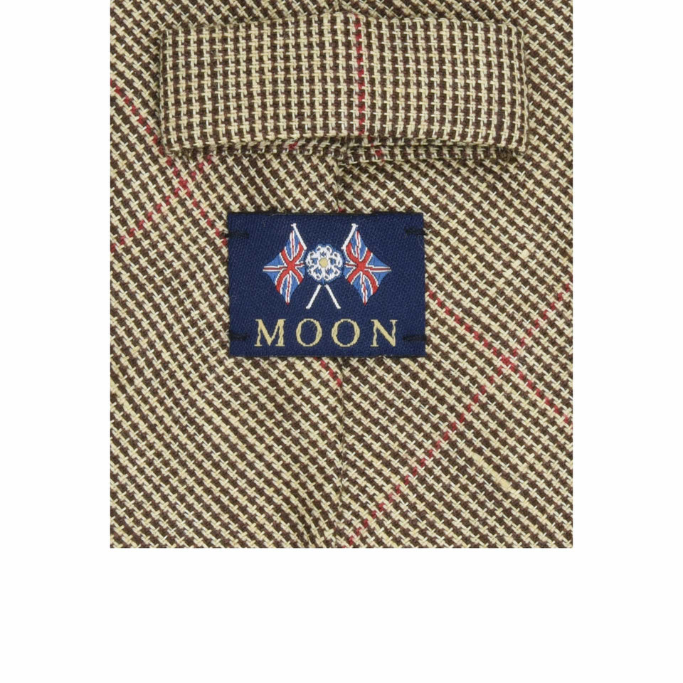 Amidé Hadelin | Abraham Moon wool/linen windowpane tie - beige/red
