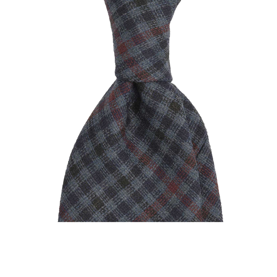 Amidé Hadelin | Fox Brothers superfine merino 7-fold tie, blue check