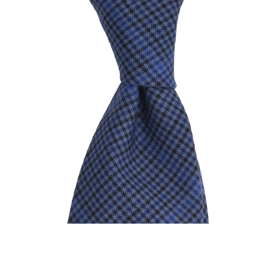 Amidé Hadelin | Fox Brothers merino 6-fold tie, blue check