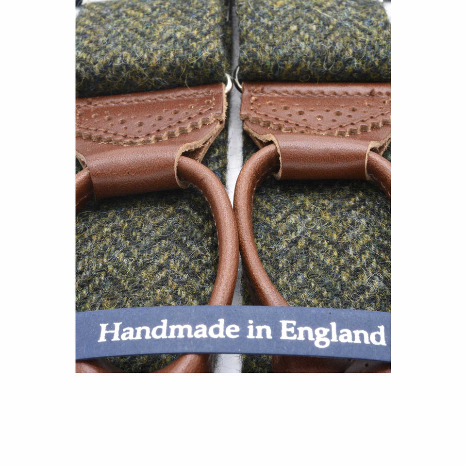 Amidé Hadelin | Abraham Moon herringbone tweed braces - green