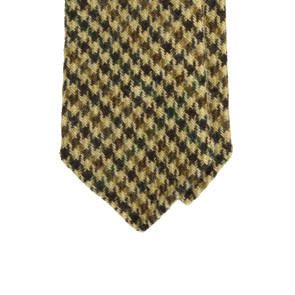 Amidé Hadelin | Abraham Moon gun club check Shetland tweed tie - beige