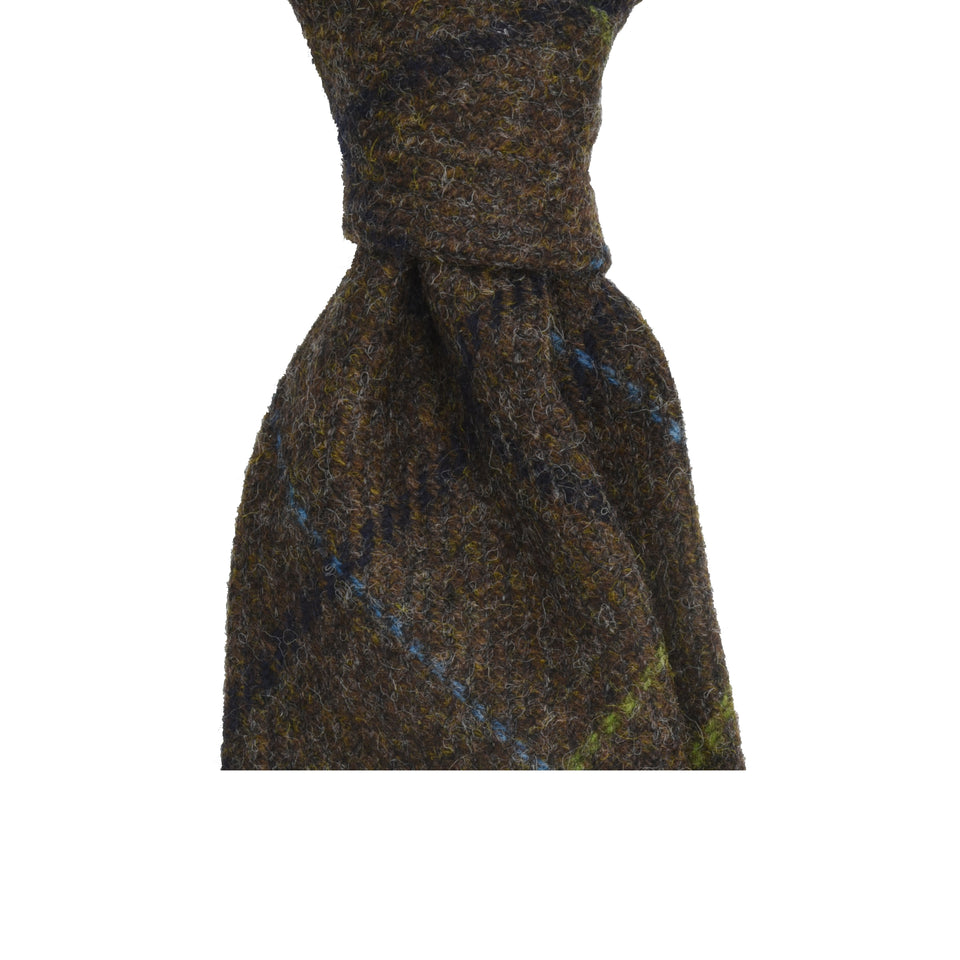 Amidé Hadelin | Abraham Moon window pane Shetland tweed tie - brown