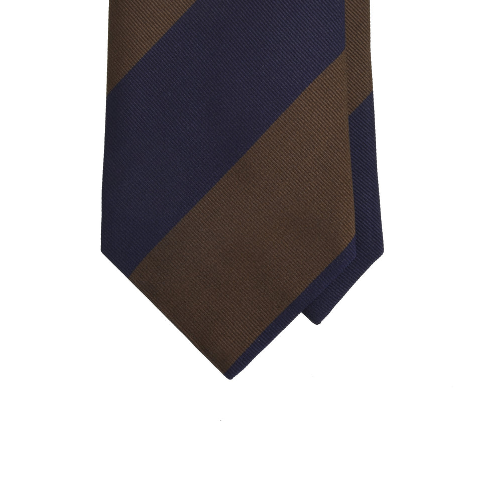 Amidé Hadelin | Block stripe silk repp tie - navy/brown