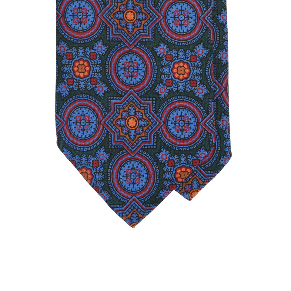 Amidé Hadelin | Handprinted ancient madder tie, green