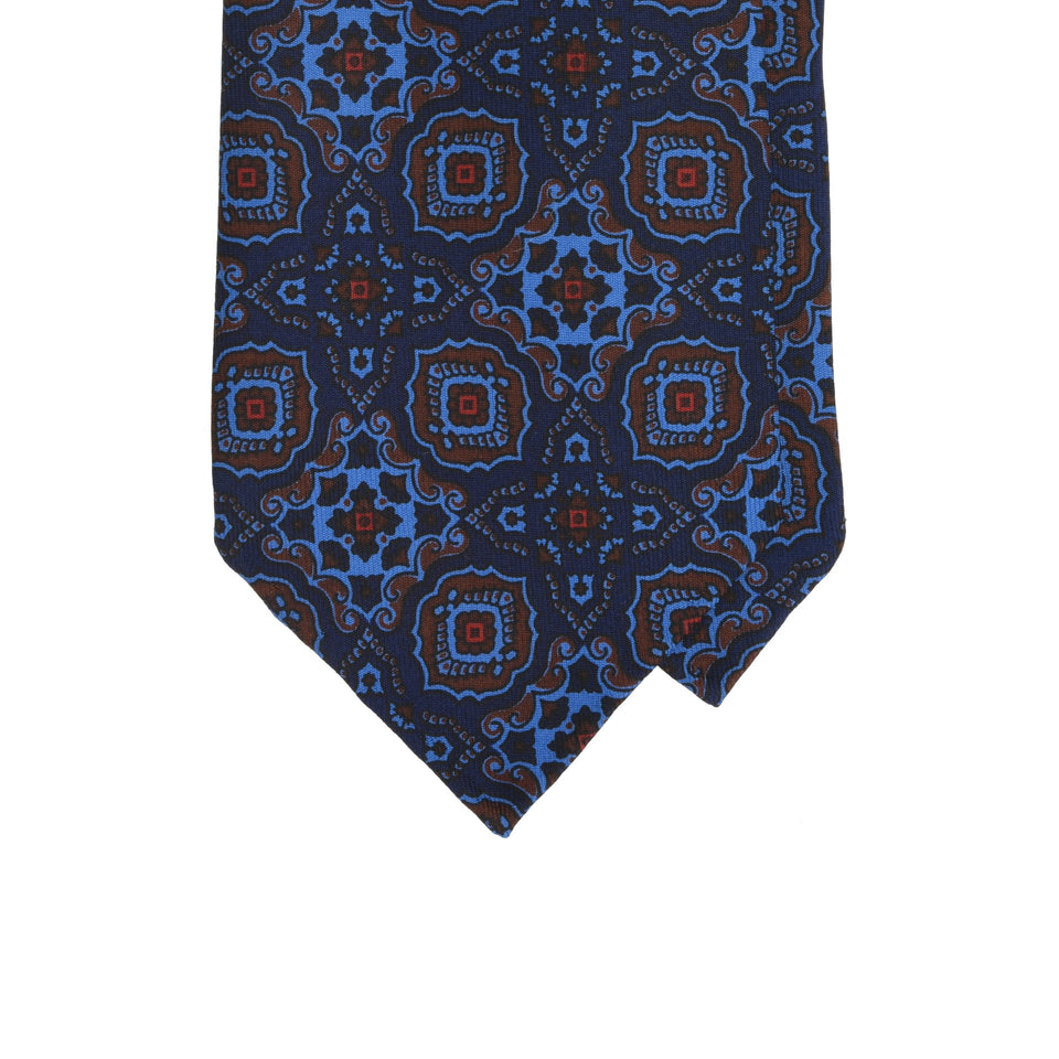 Amidé Hadelin | Handprinted ancient madder tie, navy
