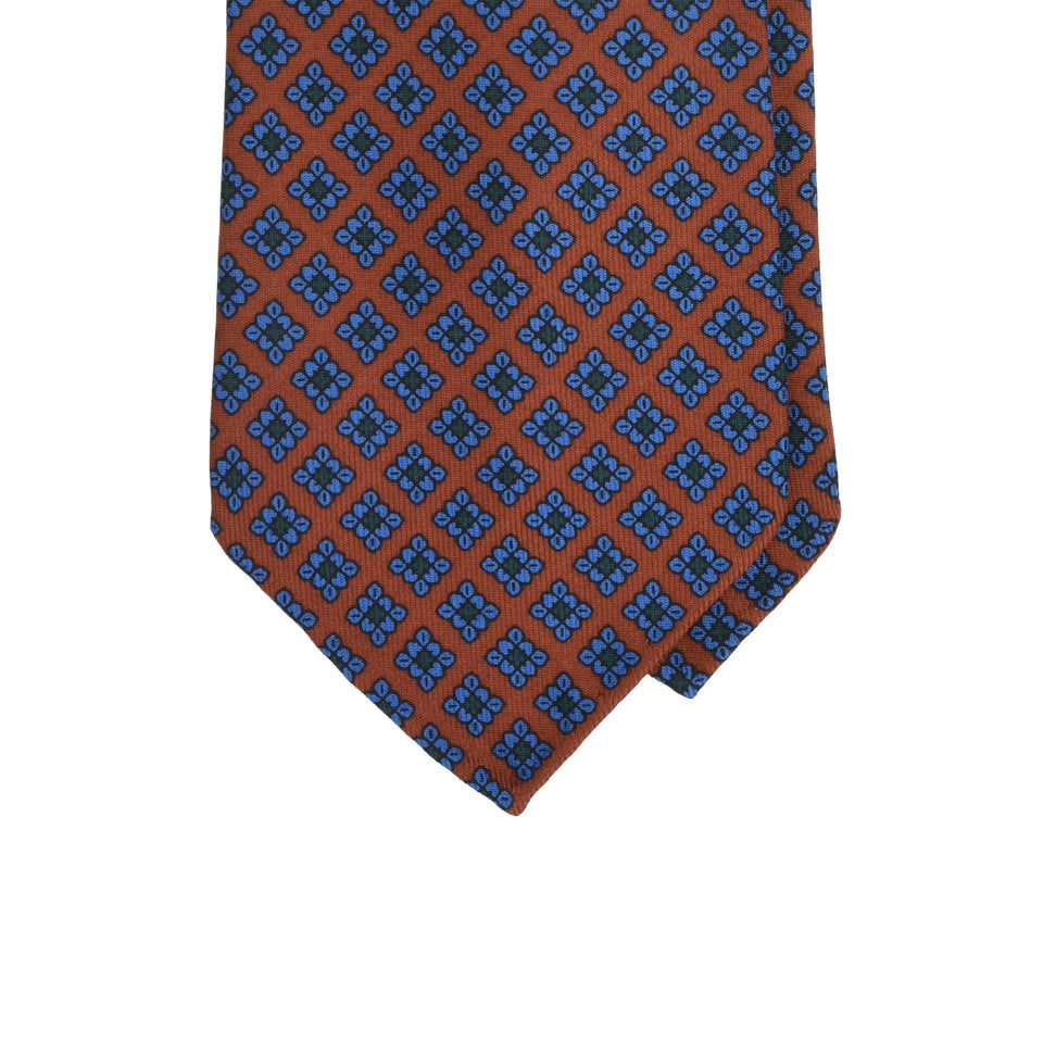 Amidé Hadelin | Handprinted ancient madder tie, terracotta