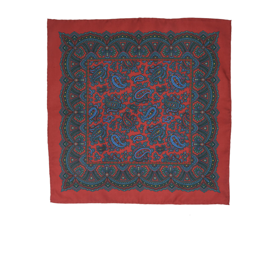 Amidé Hadelin | Handprinted silk pocket square, paisley, red