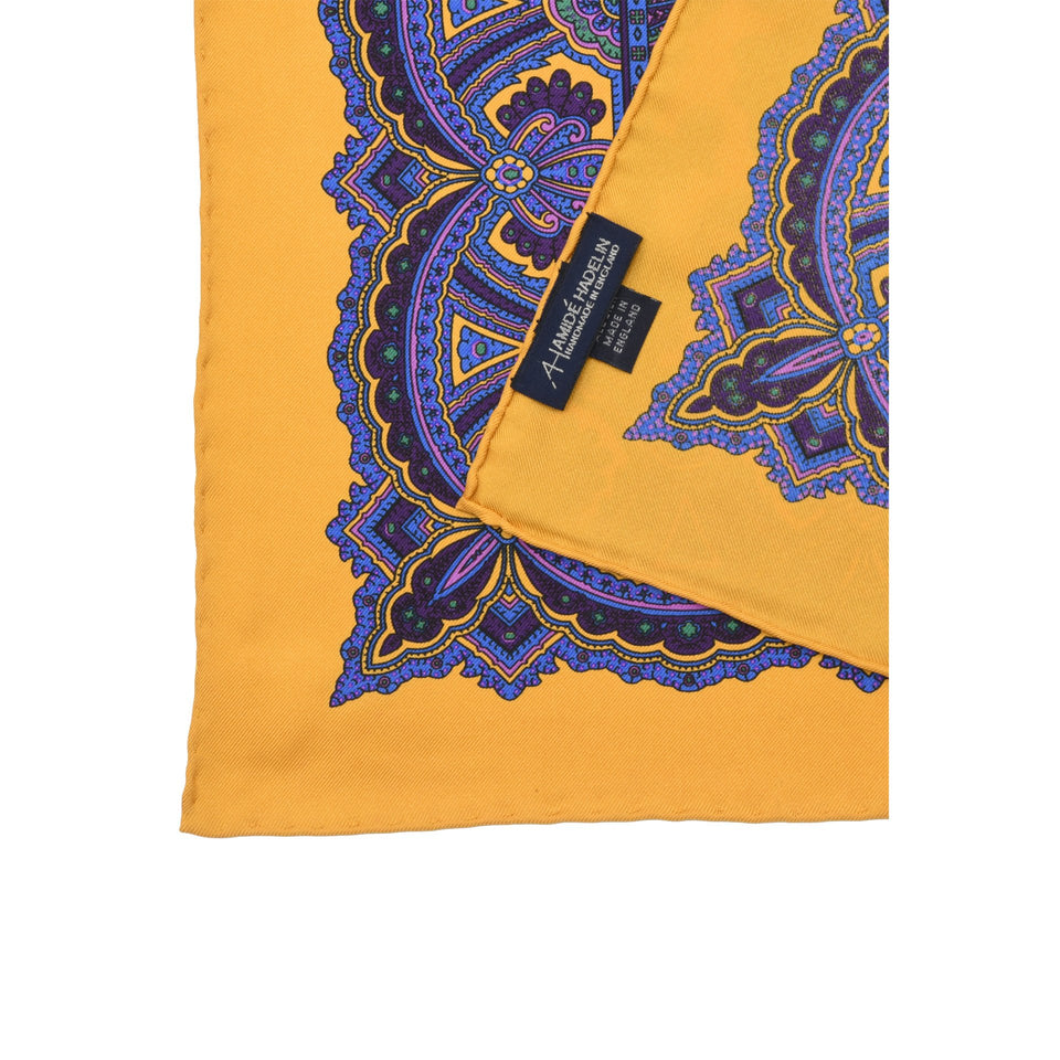 Amidé Hadelin | Handprinted silk pocket square, paisley, yellow