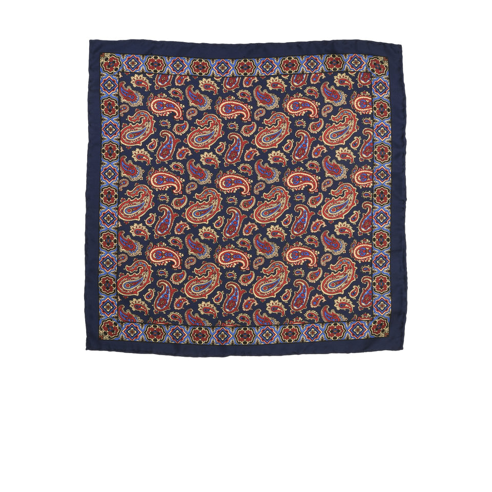 Amidé Hadelin | Handprinted silk paisley pocket square, navy