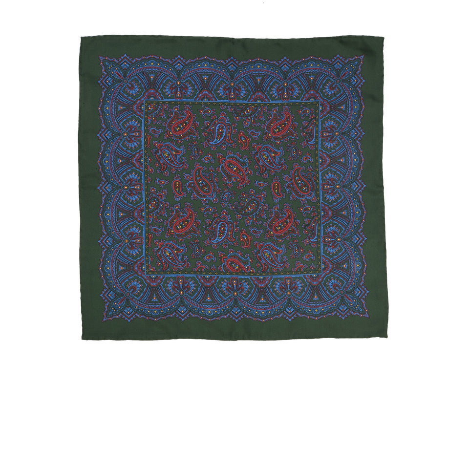 Amidé Hadelin | Handprinted silk paisley pocket square, green