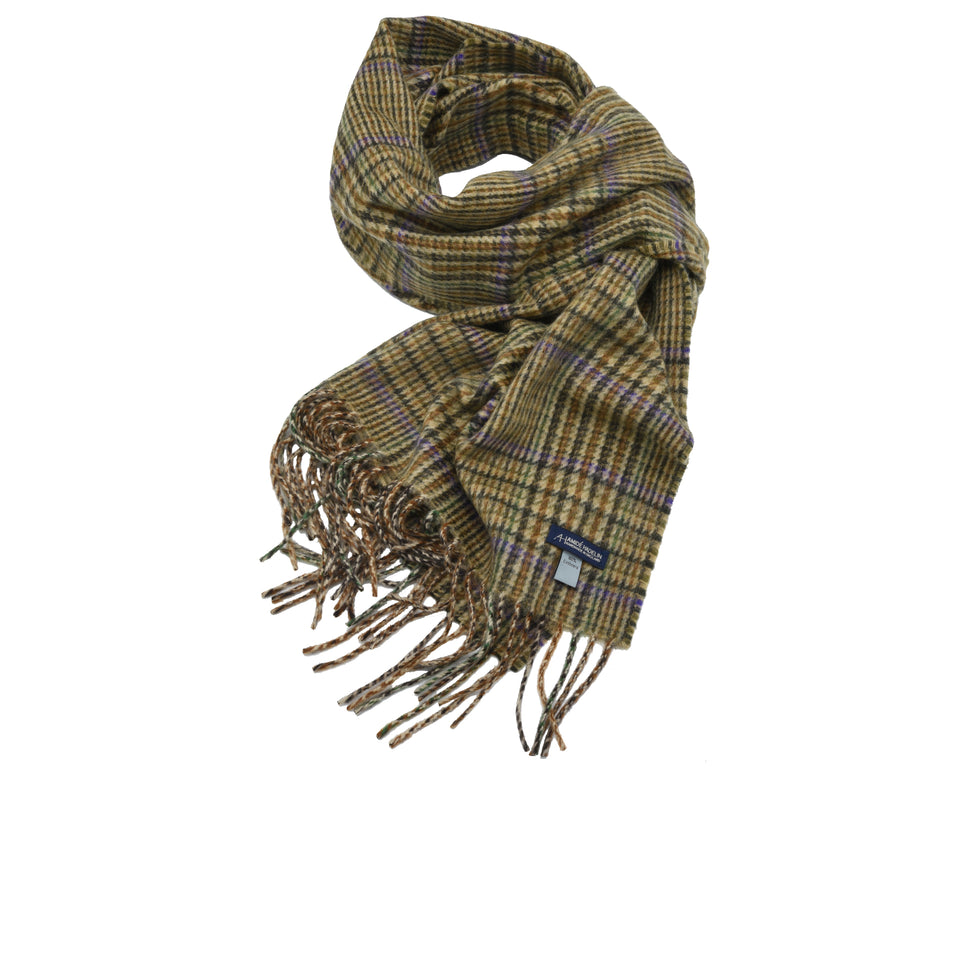 Amidé Hadelin | Cashmere glen check scarf, cream/dark brown