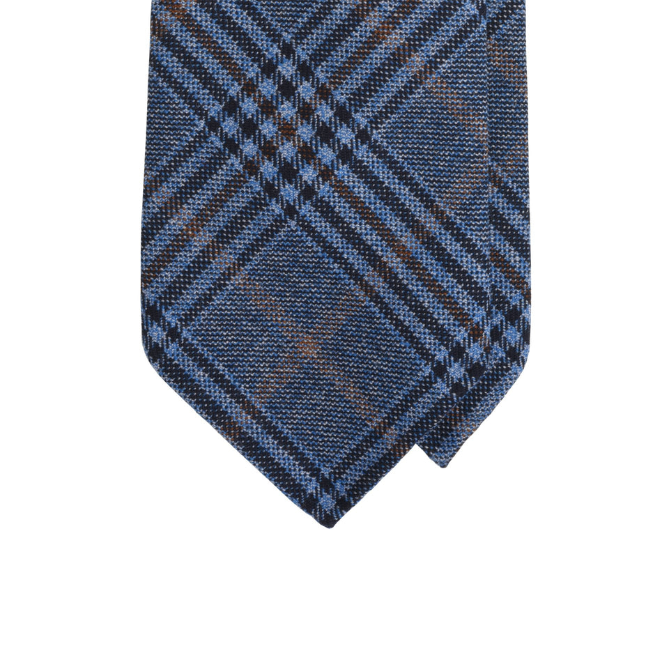 Amidé Hadelin | Holland & Sherry glen check tweed tie - slate blue/rust