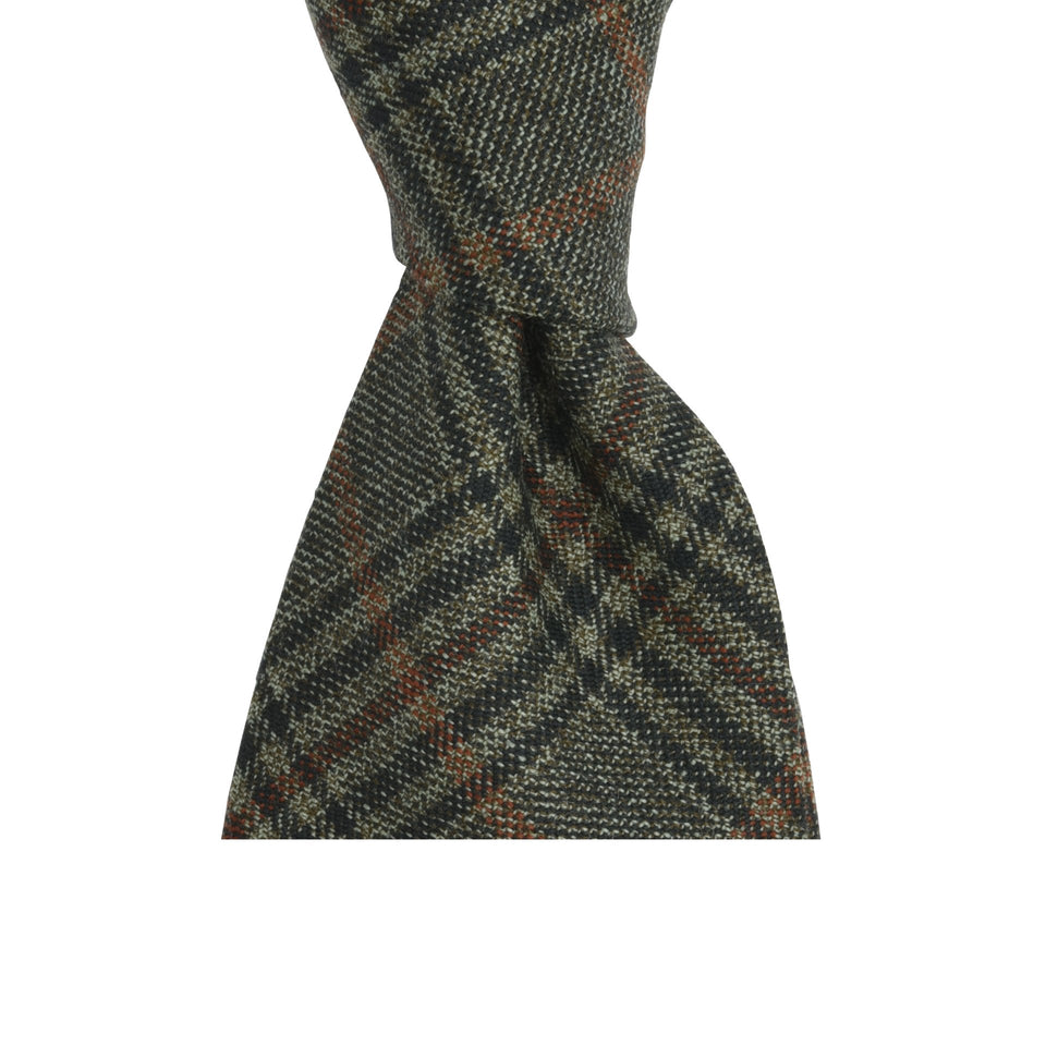 Amidé Hadelin | Holland & Sherry glen check tweed tie - brown/orange