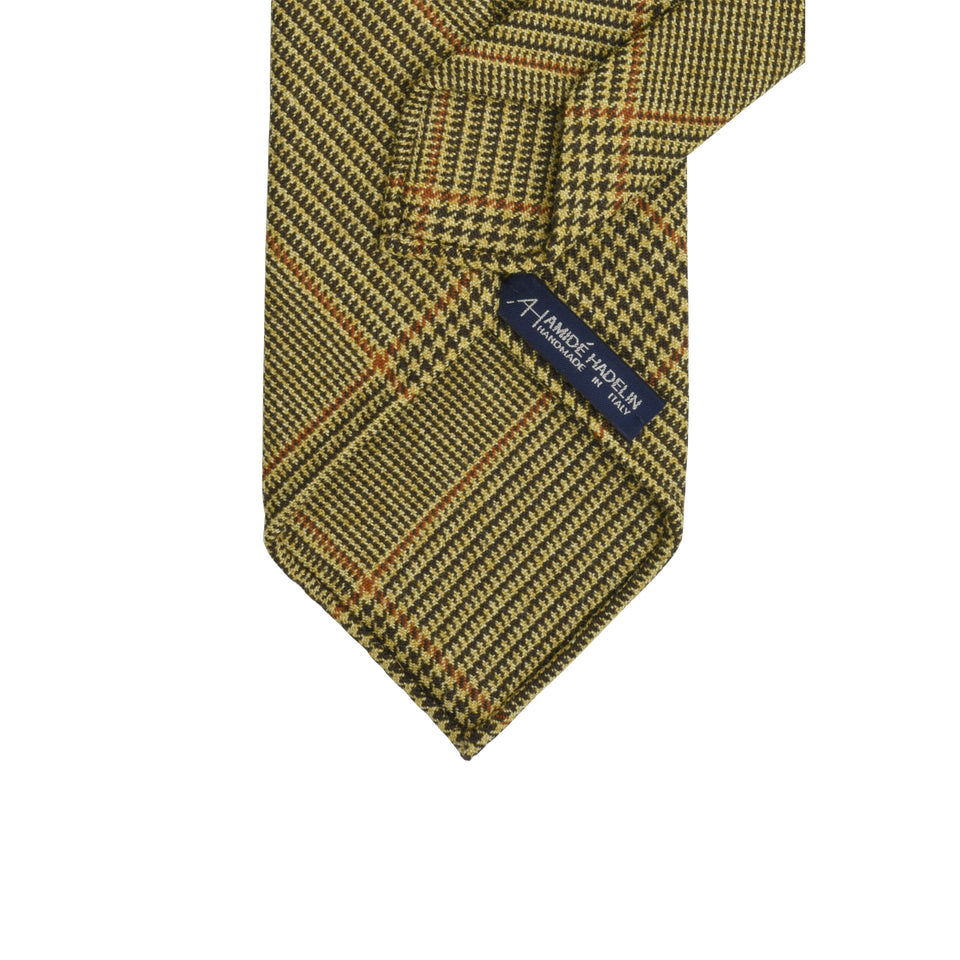 Amidé Hadelin | Holland & Sherry PoW check tweed tie - fawn/mustard