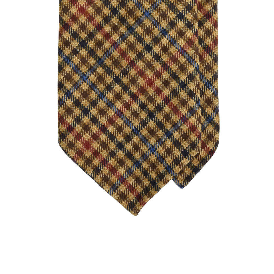 Amidé Hadelin | Holland & Sherry gun club check tweed tie - fawn/navy