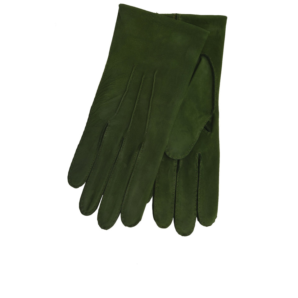 Amidé Hadelin | Limited Edition unlined full suede gloves - green