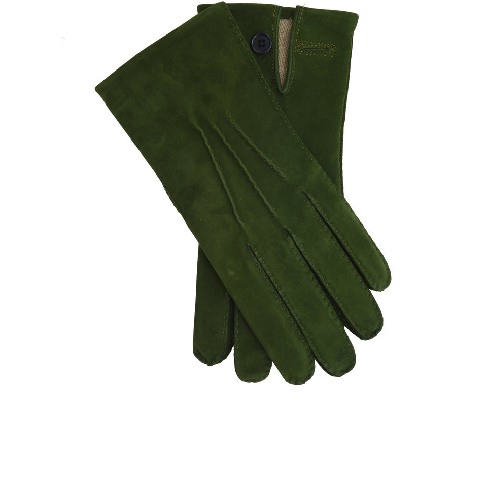 Amidé Hadelin | Limited Edition cashmere lined full suede gloves - green