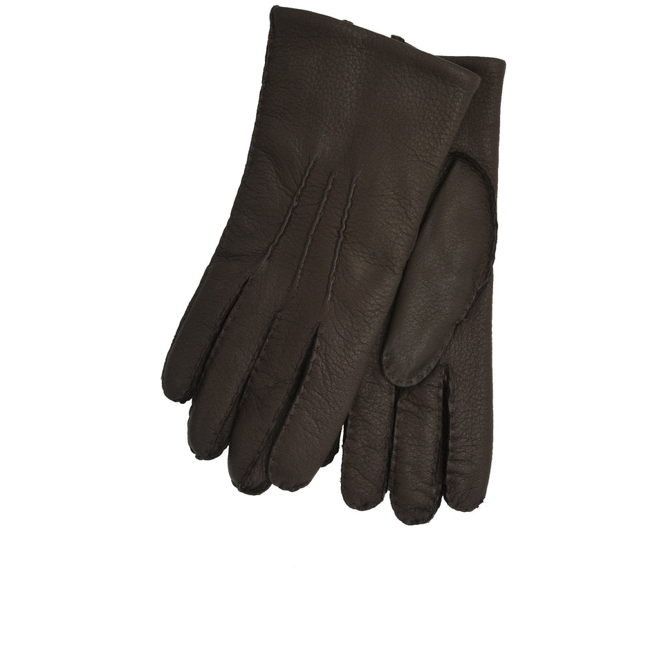 Amidé Hadelin | Cashmere lined deerskin gloves, dark brown