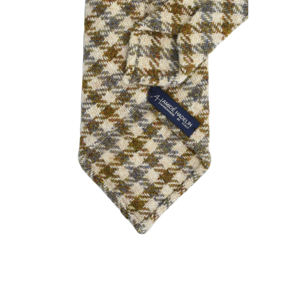Amidé Hadelin | HARRIS TWEED gun club check tie - oatmeal/mustard