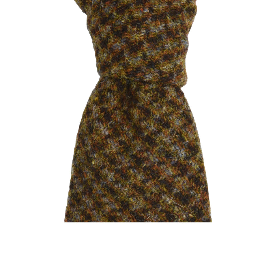 Amidé Hadelin | HARRIS TWEED mini check tie - brown/grey