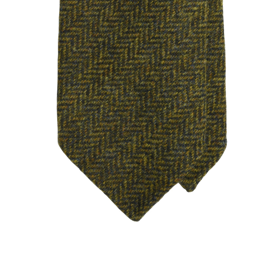 Amidé Hadelin | Abraham Moon herringbone Shetland tweed tie - green