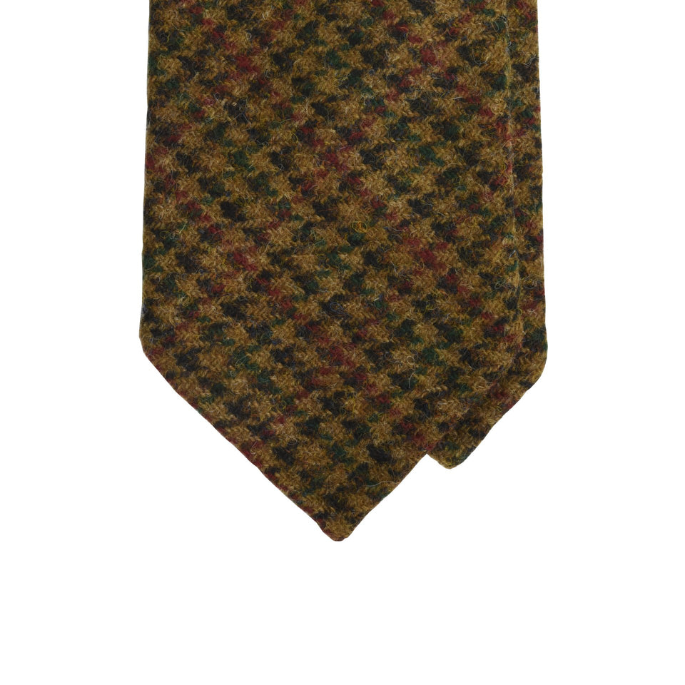 Amidé Hadelin | Abraham Moon gun club check Shetland tweed tie - brown