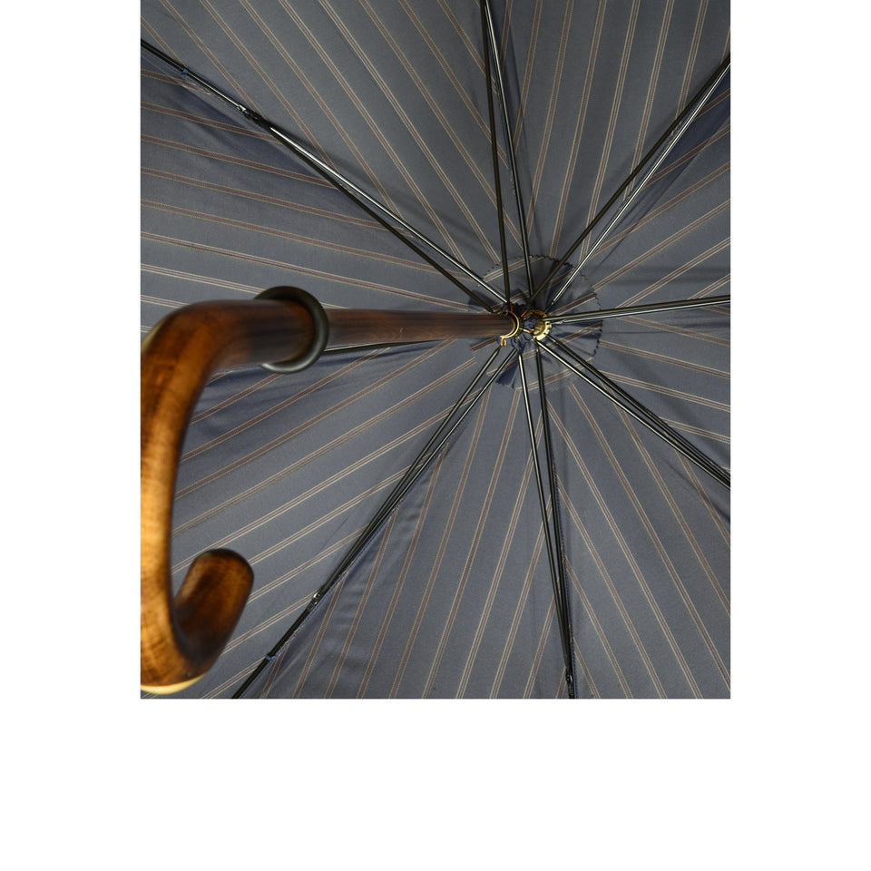 Amidé Hadelin | Scorched maple umbrella with horn insert, navy/red
