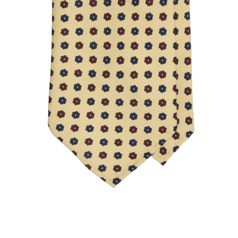 Amidé Hadelin | Handprinted floral silk tie, cream