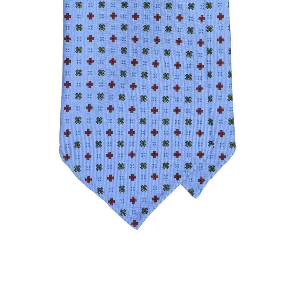 Amidé Hadelin | Handprinted micro floral silk tie, light blue