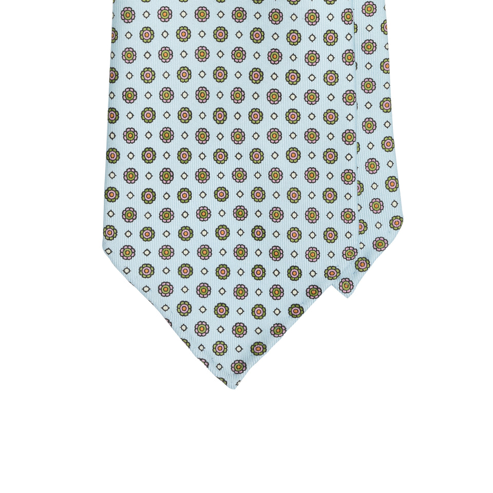Amidé Hadelin | Handprinted floral silk tie, light blue